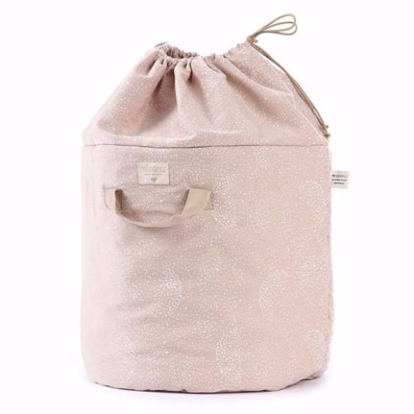 Nobodinoz opbergmand Bamboo Large - White bubble/Misty Pink - DE GELE FLAMINGO - Kids concept store