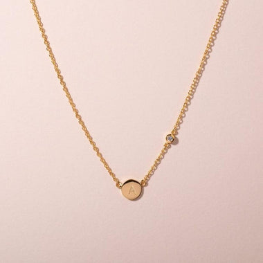 Galore Gepersonaliseerde Ketting Circle & Diamond | Gold Baby