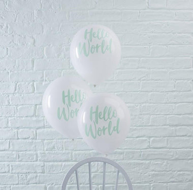 Set 10 ballonnen Hello World mint