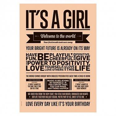 I love my type poster A3 - It's a Girl - Peach