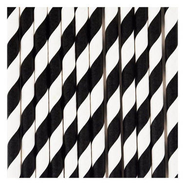 Set 25 papieren rietjes Black stripes