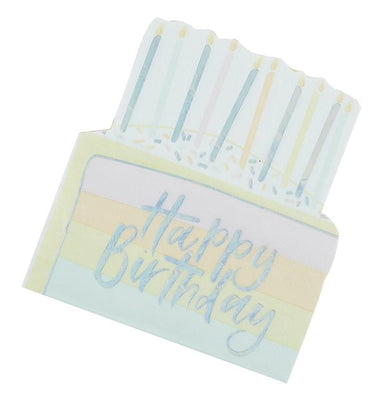 Set 16 papieren servetten Happy Birthday Cake