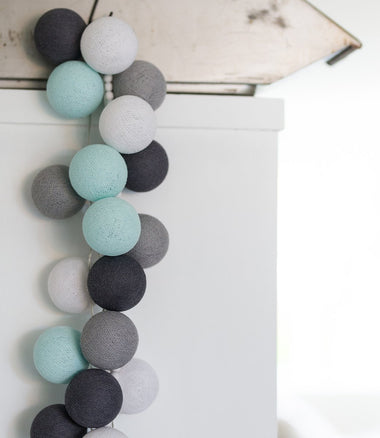 Cotton Ball Lights Lichtslinger 35 stuks - Aqua Grey