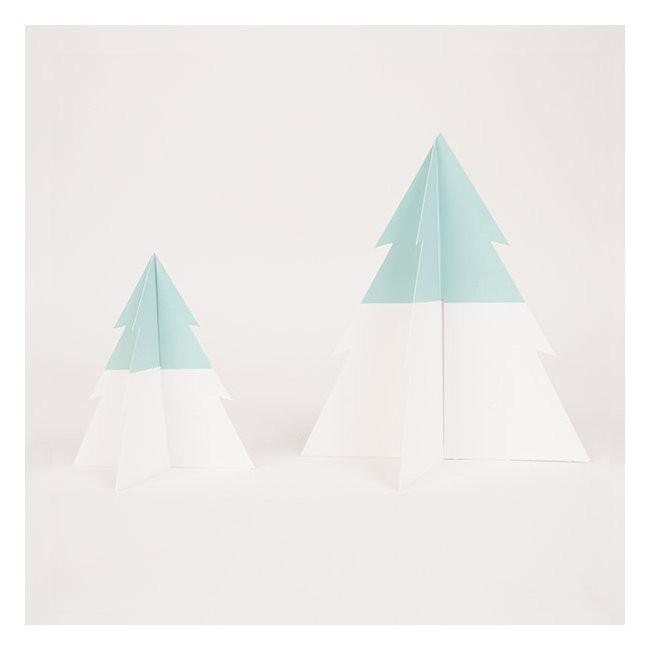 Set 8 kartonnen bordjes christmas trees - DE GELE FLAMINGO - 3