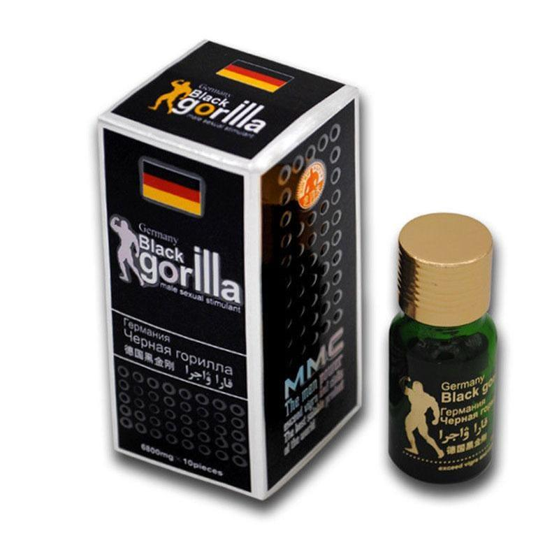 10 Black Gorilla Herbal Sex Pills Male Supplement Stimulant Extra Strong Action - RealDealPacks