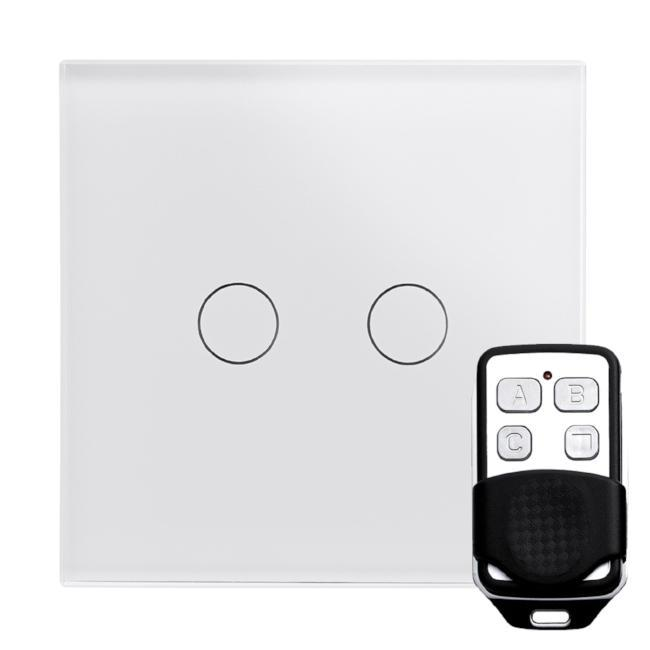 Crystal PG LED Dimmer Touch & Remote Switch 2 Gang
