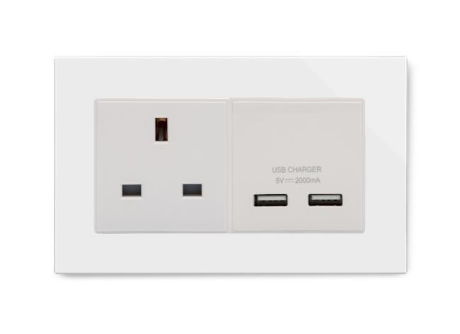 Crystal PG 13A 1G UK Socket & 2.1A Dual USB