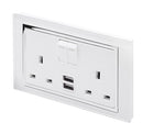 Crystal CT 2.1A USB & 13A DP Double Plug Socket with Switches