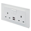Crystal PG 2.1A USB & 13A DP Double Plug Socket with Switches