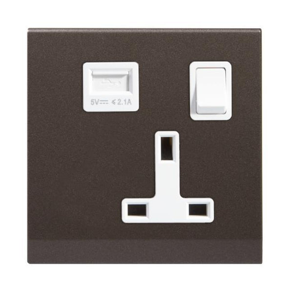 Simplicity 13A Single Plug Socket and USB with Switch