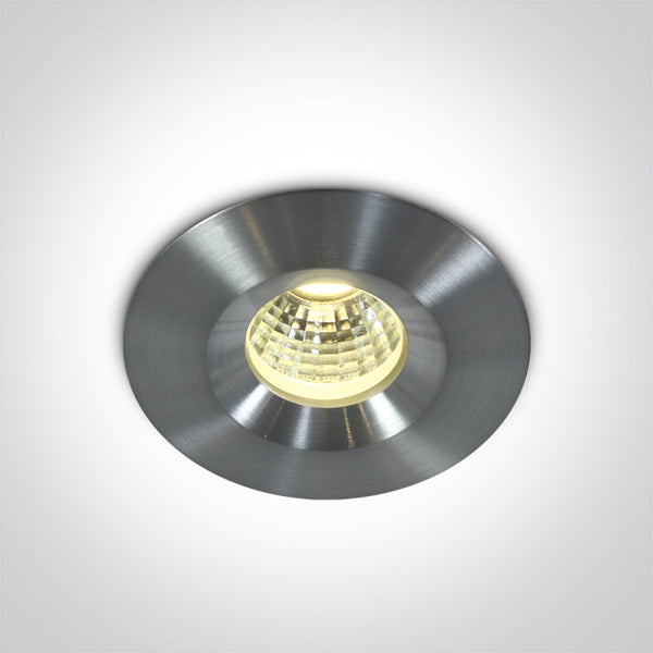 1W/3W (350mA/700mA) COB LED Recessed Spot IP65, 6000K Aluminium Finish