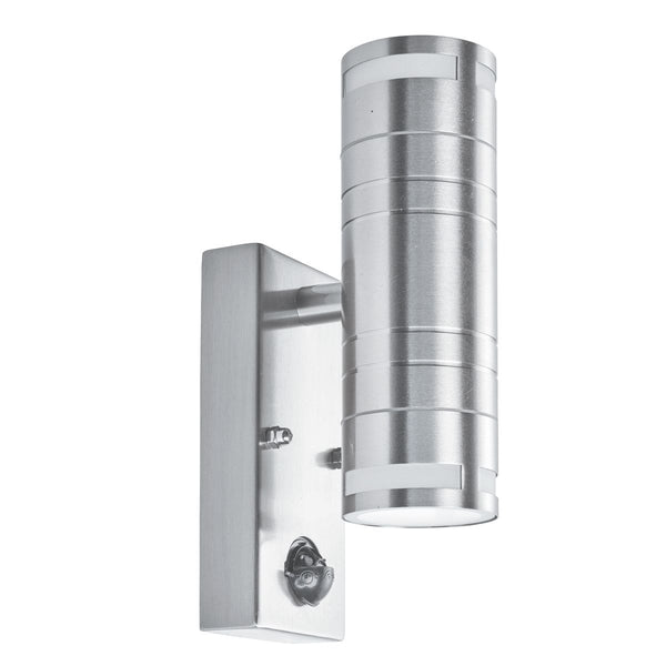 2 Light Outdoor Manufacturer_Searchlight, Fitting Type_Wall Light IP44 With motion Sensor, Stainless Steel