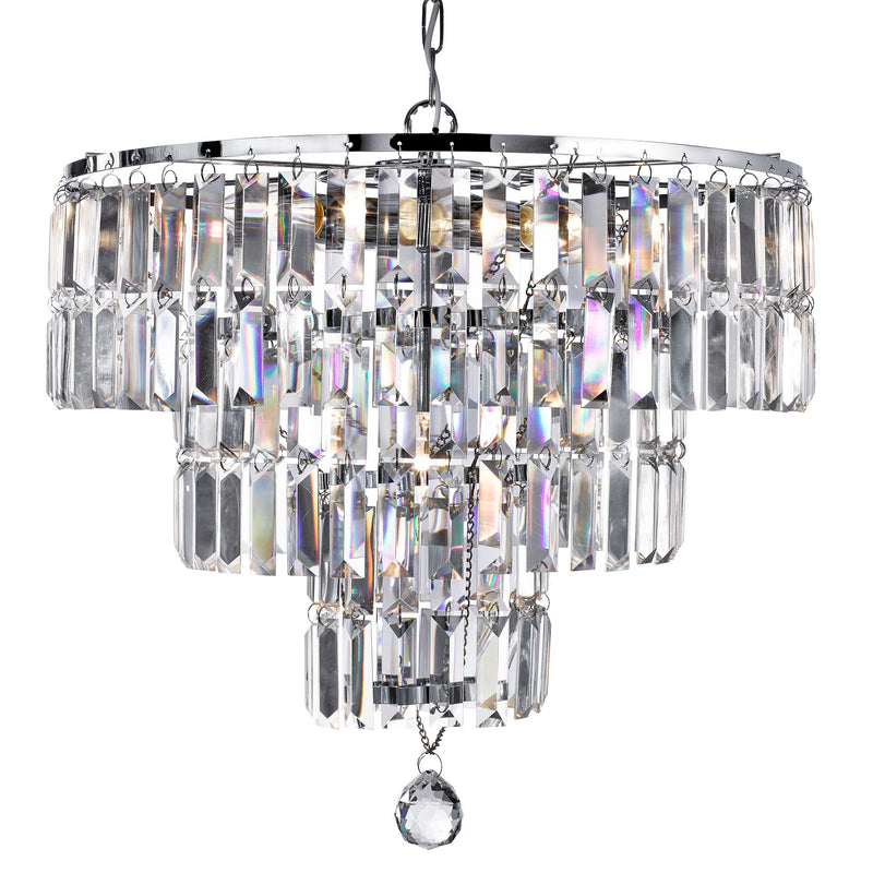 Empire 5 Light Crystal Manufacturer_Searchlight, Fitting Type_Ceiling Light With Bevelled Crystals, Polished Chrome