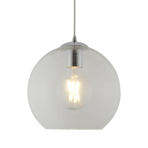 Balls 1 Light Pendant (25CM Dia) With Clear Glass, Chrome
