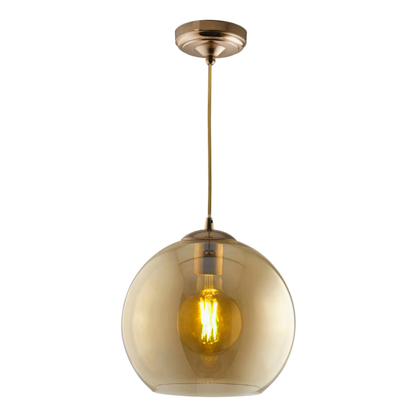 Balls 1 Light Pendant (30CM Dia) With Amber Glass, Antique Brass