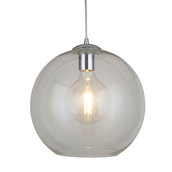 Balls 1 Light Pendant (30CM Dia) With Clear Glass, Chrome