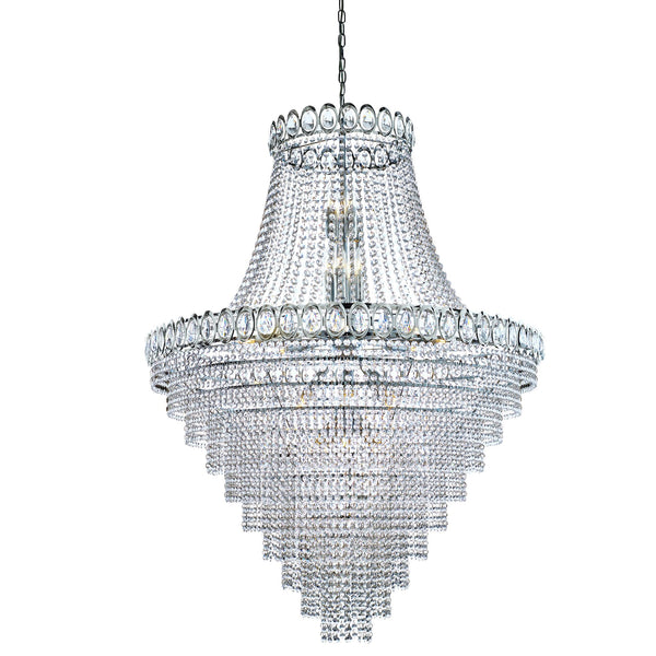 Louis Philippe 28 Light Tiered Crystal Chandelier With Crystals Beads, Polished Chrome