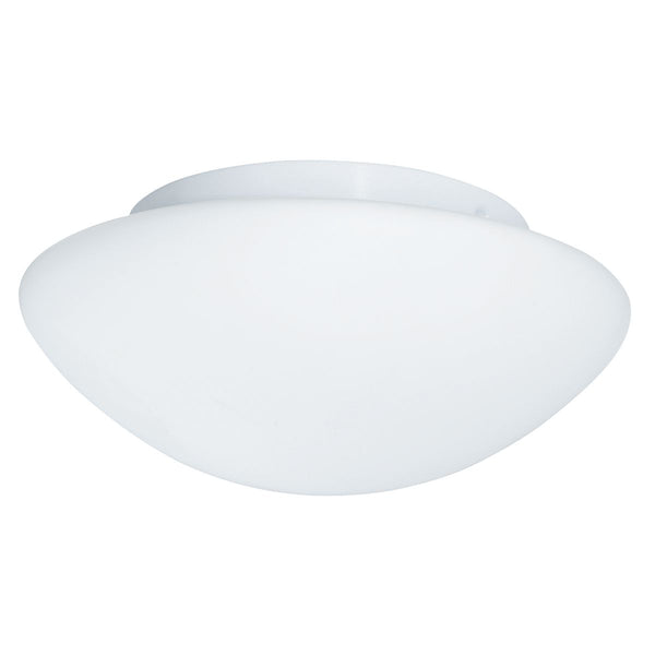 2 Light Flush Manufacturer_Searchlight, Fitting Type_Ceiling Light IP44 (28CM), Opal Glass