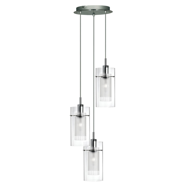 Duo 1 3 Light Ceiling Pendant With Clear Glass Shade, Polished Chrome