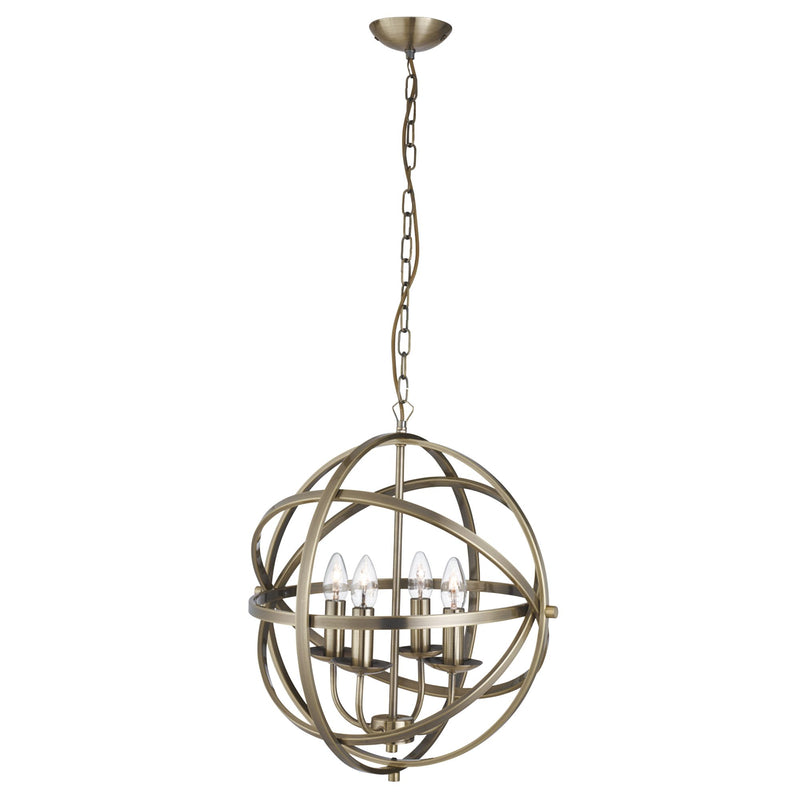 Orbit 4 Light Ceiling Pendant, Antique Brass