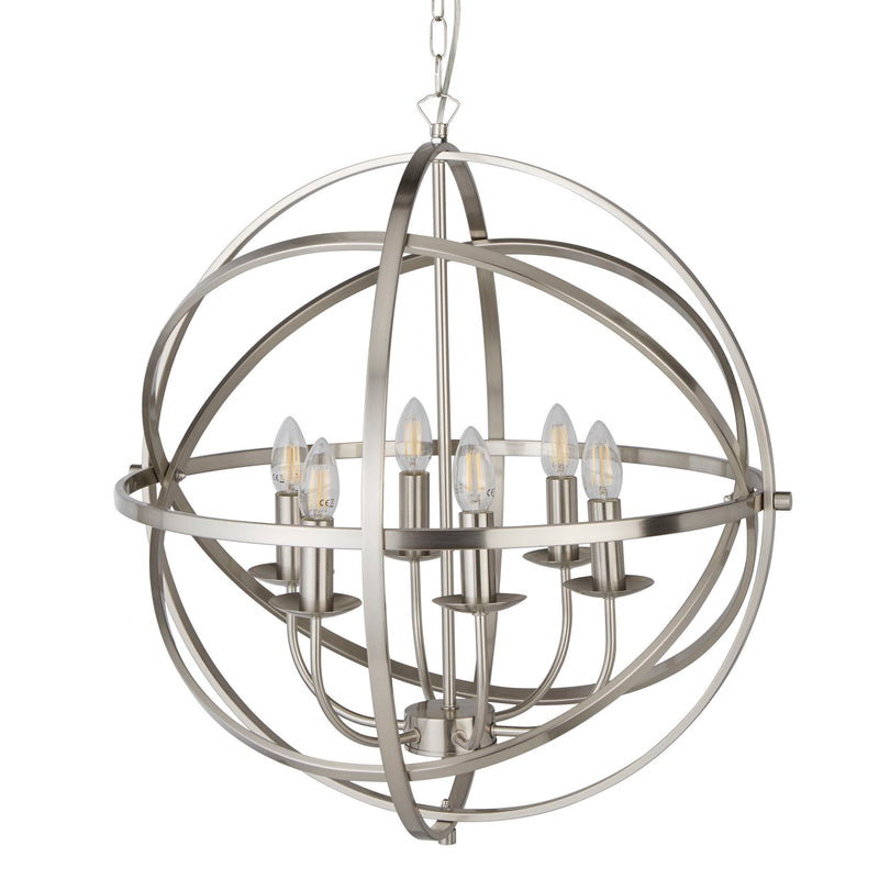 Orbit 6 Light Ceiling Pendant, Satin Silver