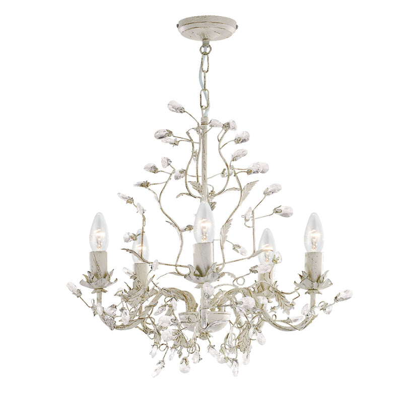 Almandite 5 Light Ceiling Chandelier With Pear Drop Crystals, Cream And Gold