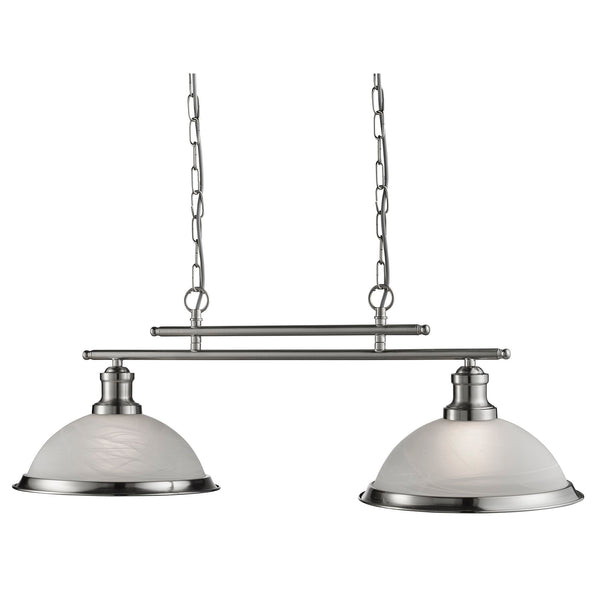 Bistro 2 Light Ceiling Pendant, Satin Silver