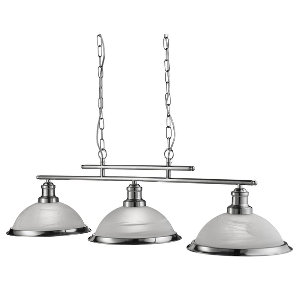Bistro 3 Light Ceiling Pendant, Satin Silver