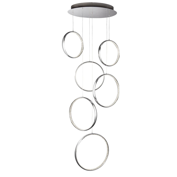 RINGS 6 LED CEILING MULTI-DROP CHROME CLEAR CRYSTAL