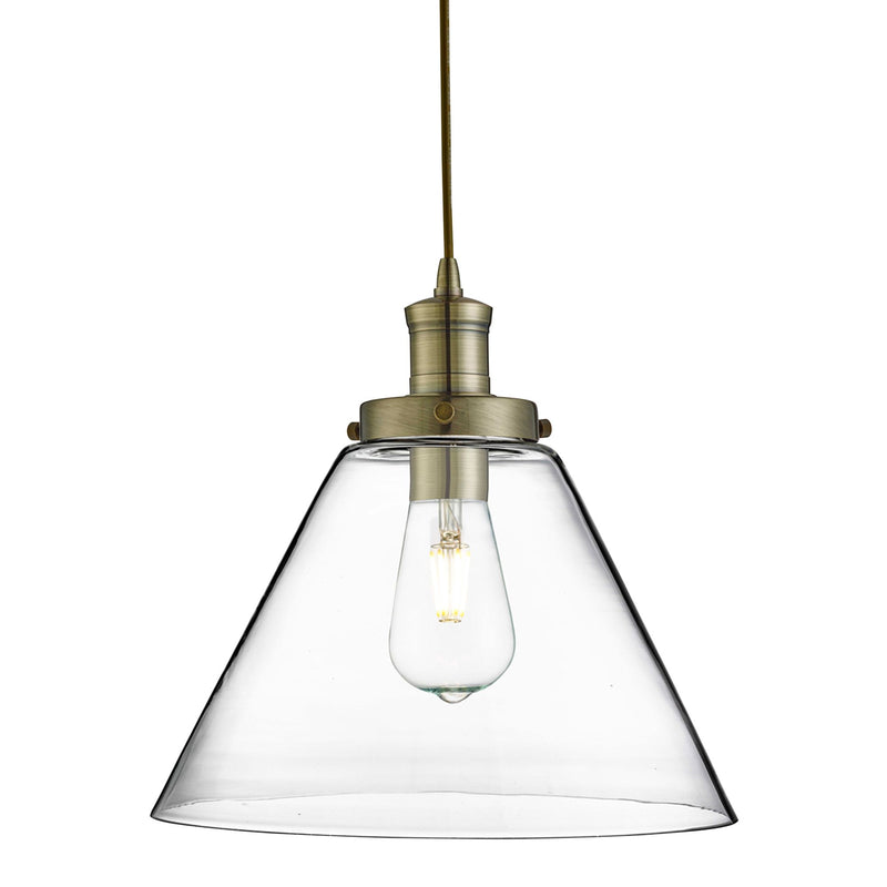 Pyramid 1 Light Pendant With Clear Glass Shade, Antique Brass