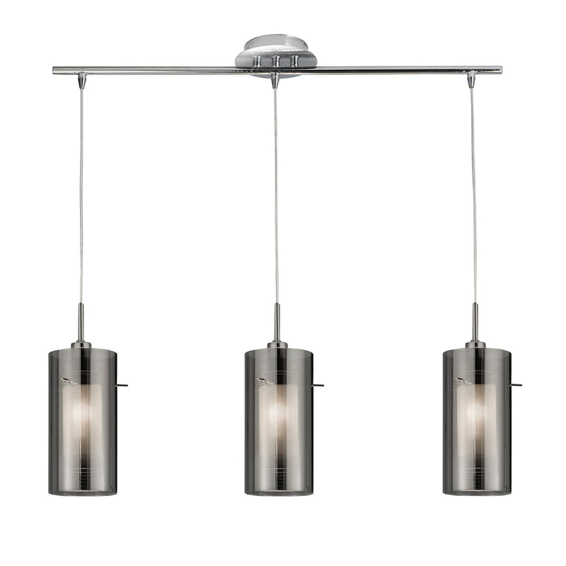 Duo 1 3 Light Ceiling Pendant With Smoked Glass Shade, Polished Chrome