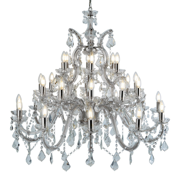 Marie Therese 30 Light Crystal Chandelier With Crystal Drops, Polished Chrome