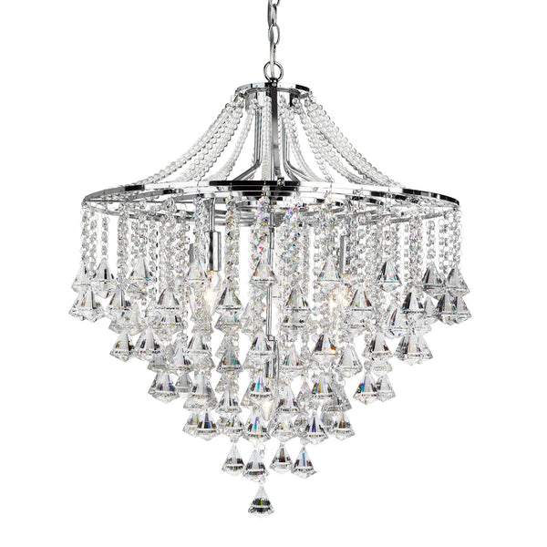 Dorchester 5 Light Crystal Manufacturer_Searchlight, Fitting Type_Ceiling Light With Clear Crystals, Polished Chrome