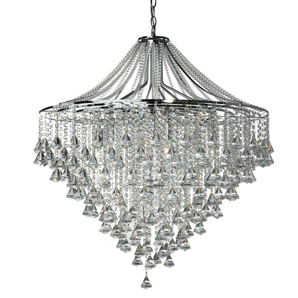 Dorchester 7 Light Crystal Ceiling Light With Clear Crystals, Polished Chrome