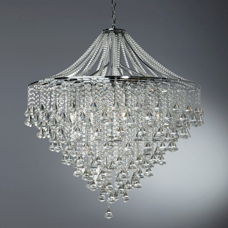 Dorchester 7 Light Crystal Manufacturer_Searchlight, Fitting Type_Ceiling Light With Clear Crystals, Polished Chrome