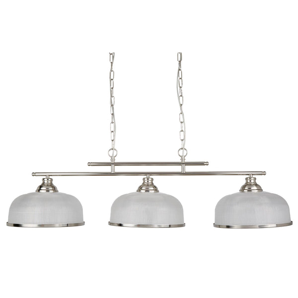 Bistro II 3 Light Ceiling Pendant, Satin Silver