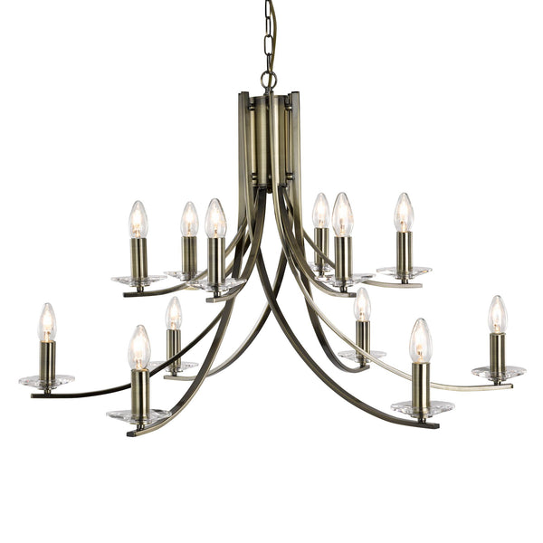 ASCONA - 12LT CEILING ANTIQUE BRASS TWIST FRAME WITH CLEAR GLASS SCONCES