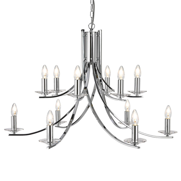 ASCONA - 12LT CEILING CHROME TWIST FRAME WITH CLEAR GLASS SCONCES