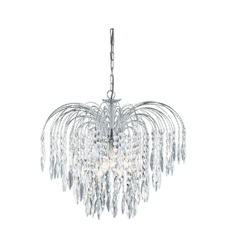 Waterfall 5 Light Crystal Ceiling Pendant Light, Polished Chrome
