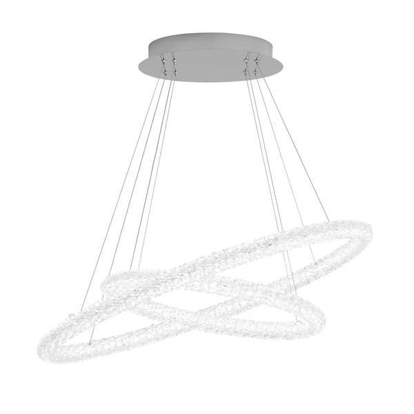CIRCLE LED 2 OVAL RING CEILING PENDANT CHROME CLEAR CRYSTAL