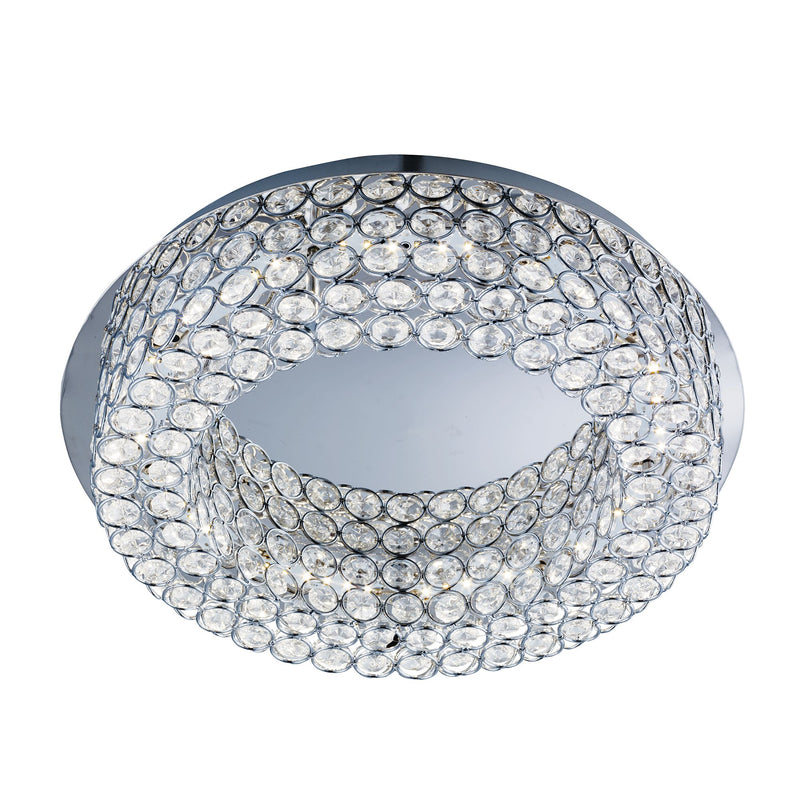 Vesta 54 LED Flush Ceiling Light With Crystal Buttons, Polished Chrome