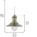 Fisherman 1 Light Ceiling Pendant, Antique Brass