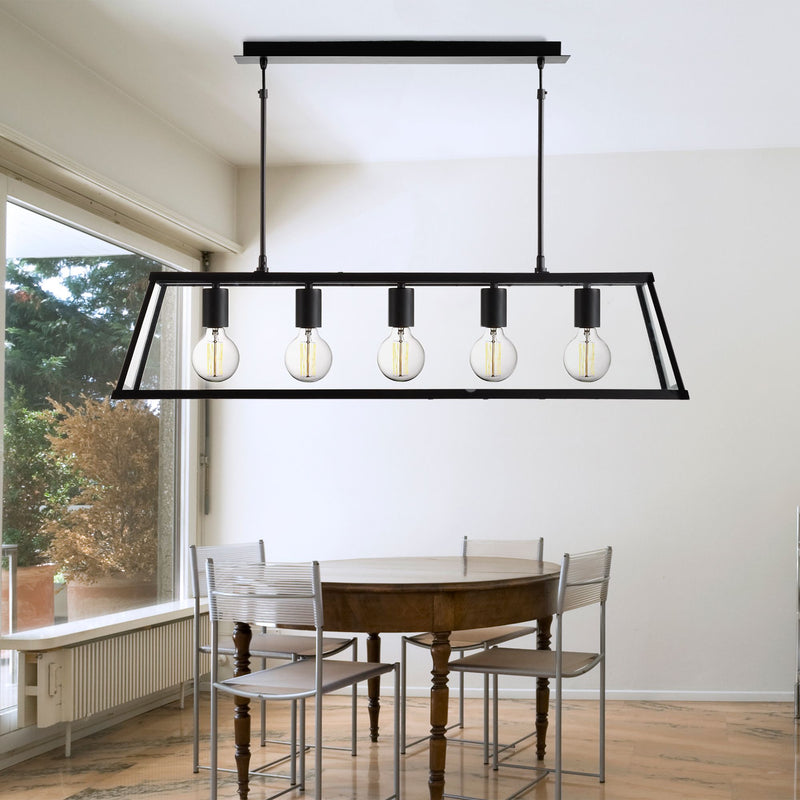 Voyagar 5 Light Glass Pendant, Matt Black