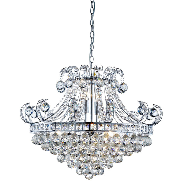 Bloomsbury 6 Light Crystal Tiered Chandelier, Polished Chrome
