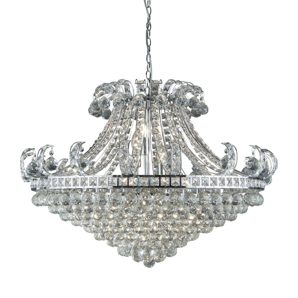 BLOOMSBURY 8LT CRYSTAL TIERED CHANDELIER CHROME CLEAR CRYSTAL DECO