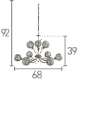 BELLIS II - 9LT CEILING ANTIQUE BRASS CLEAR GLASS DECO SHADE