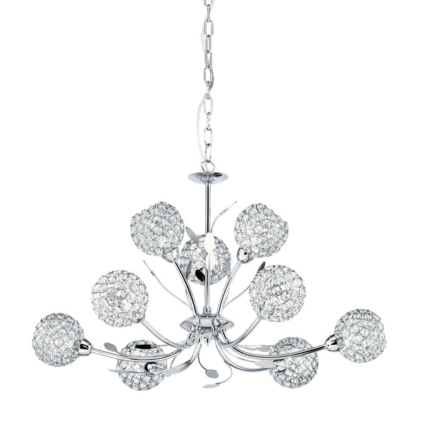 BELLIS II - 9LT CEILING CHROME CLEAR GLASS DECO SHADE