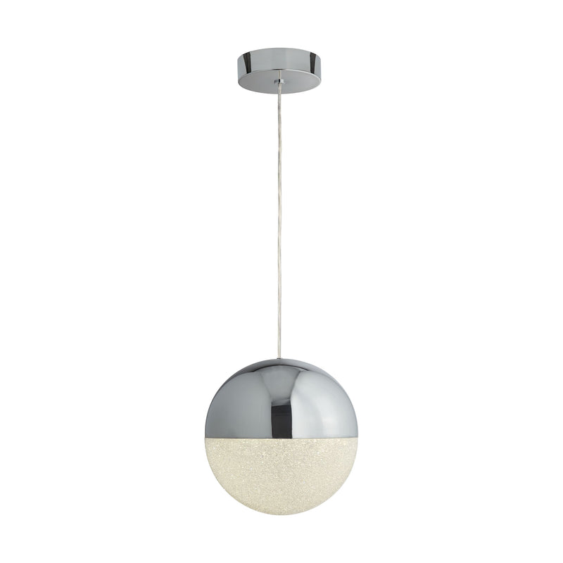 Marbles 1 Light LED Globe Pendant With Crushed Ice Glass, Chrome