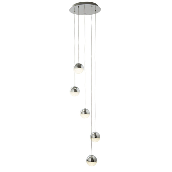 Marbles 5 Light LED Manufacturer_Searchlight, Fitting Type_Ceiling Light, Polished Chrome