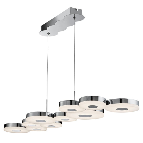 CHROMIA LED 10 DISC CEILING BAR CHROME FROSTED ACRYLIC